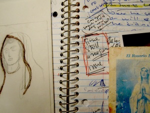 A notebook I used while writing In the Place of Silence